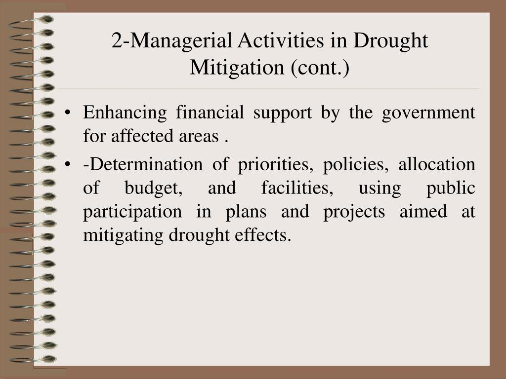 2-Managerial Activities in Drought Mitigation (cont.)