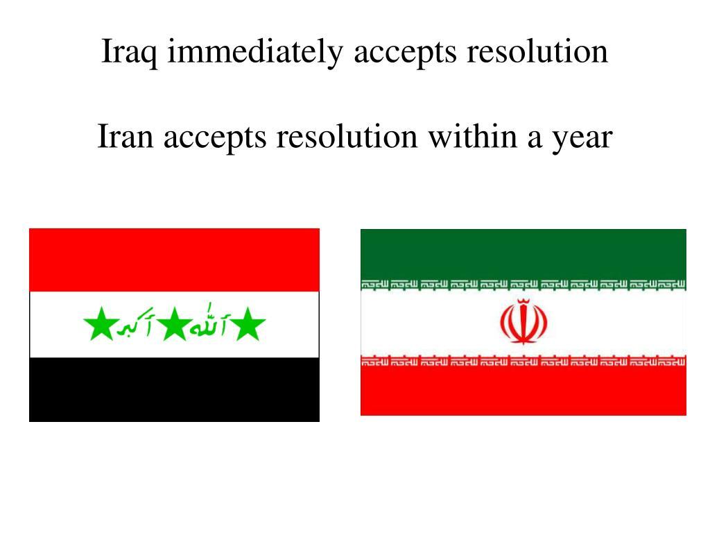 Iraq immediately accepts resolution