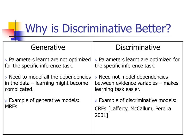 Why is Discriminative Better?