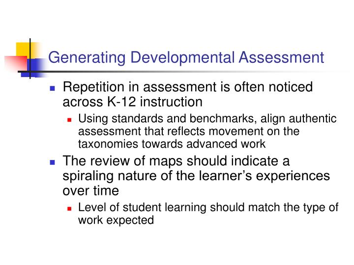 Generating Developmental Assessment