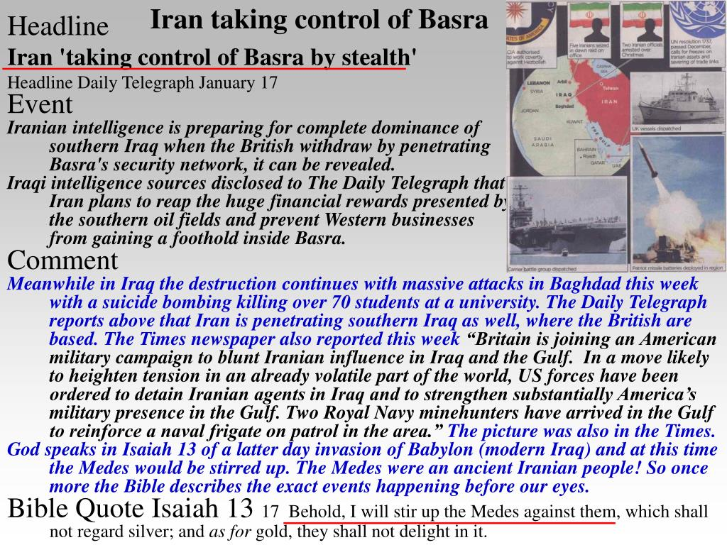 Iran taking control of Basra