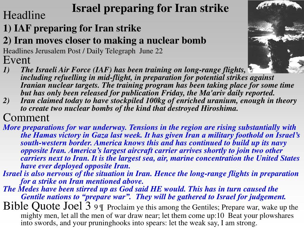 Israel preparing for Iran strike