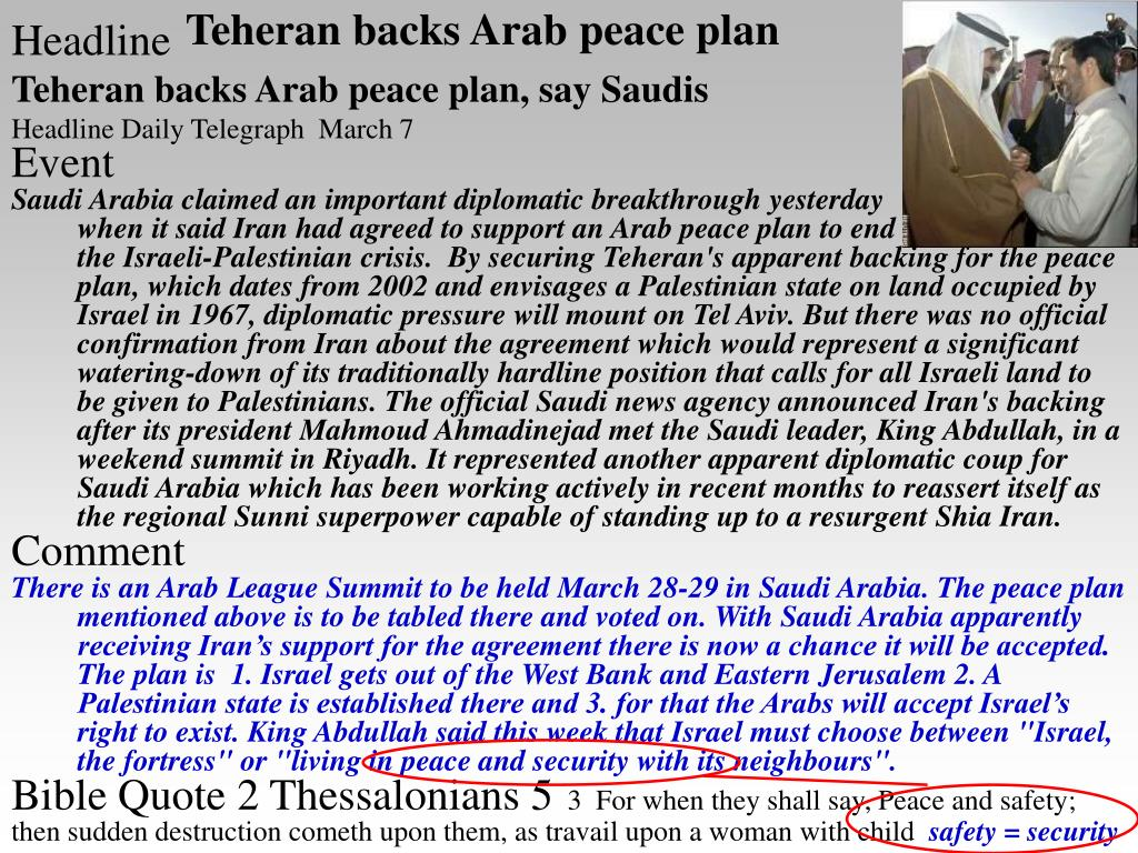 Teheran backs Arab peace plan