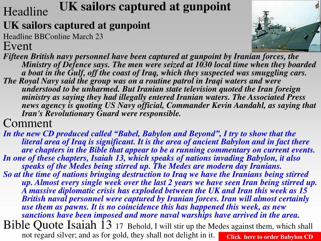 UK sailors captured at gunpoint