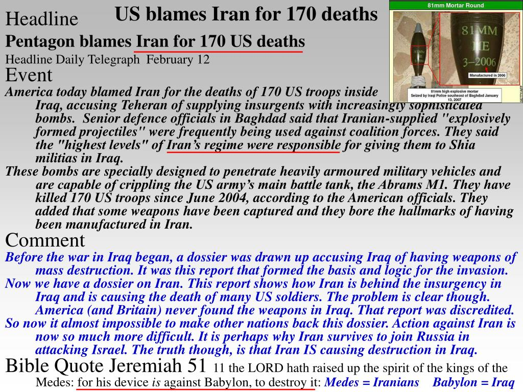 US blames Iran for 170 deaths