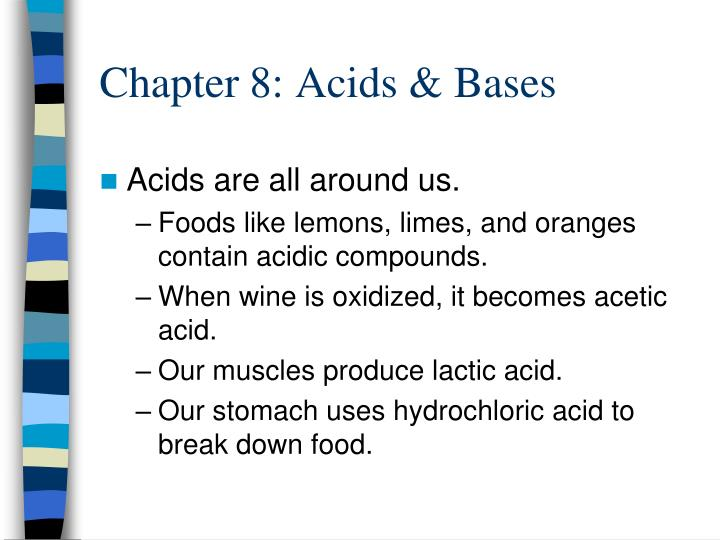 Chapter 8 acids bases
