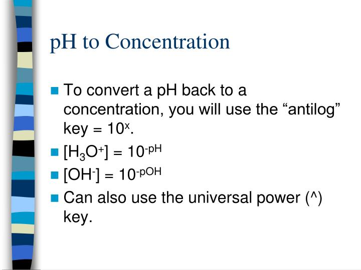pH to Concentration