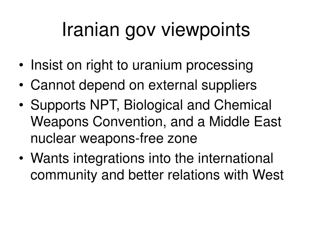 Iranian gov viewpoints