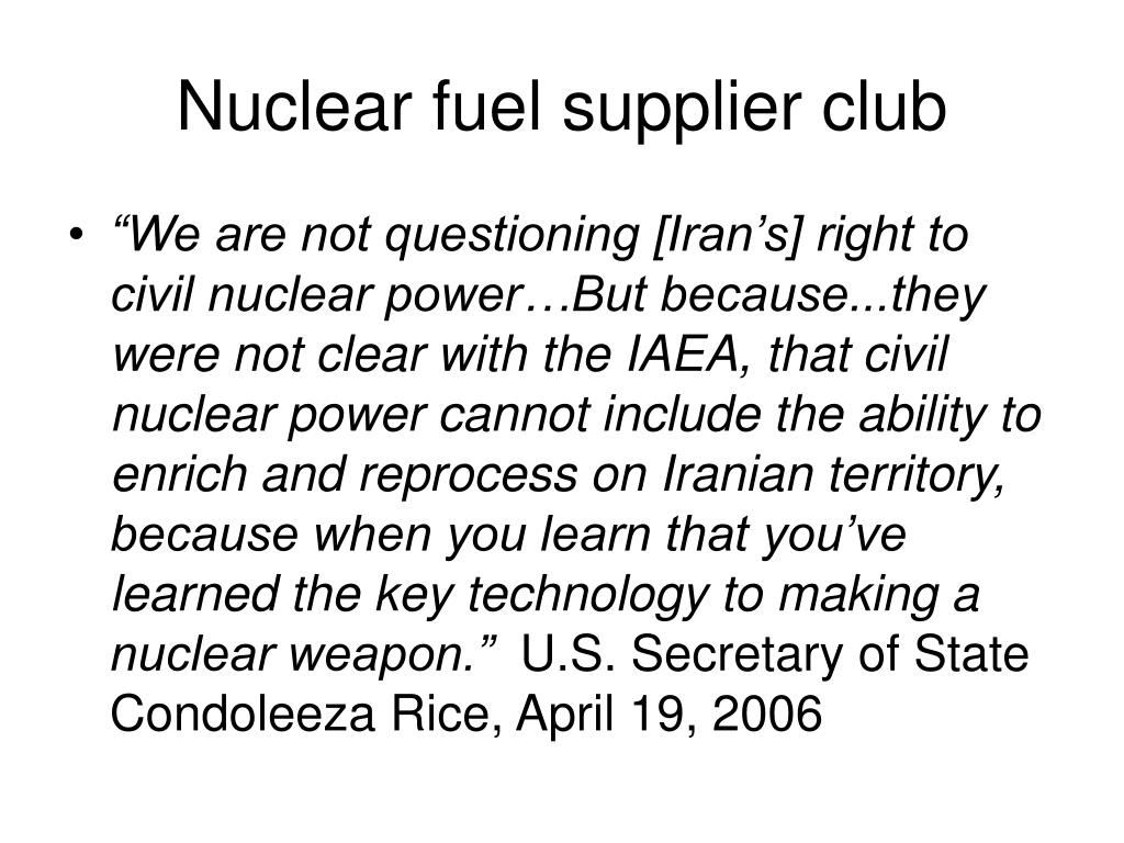 Nuclear fuel supplier club