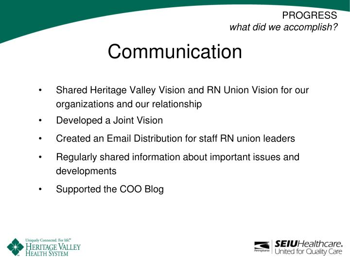 Shared Heritage Valley Vision and RN Union Vision for our organizations and our relationship
