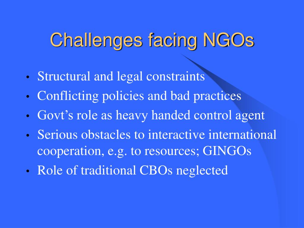 Challenges facing NGOs