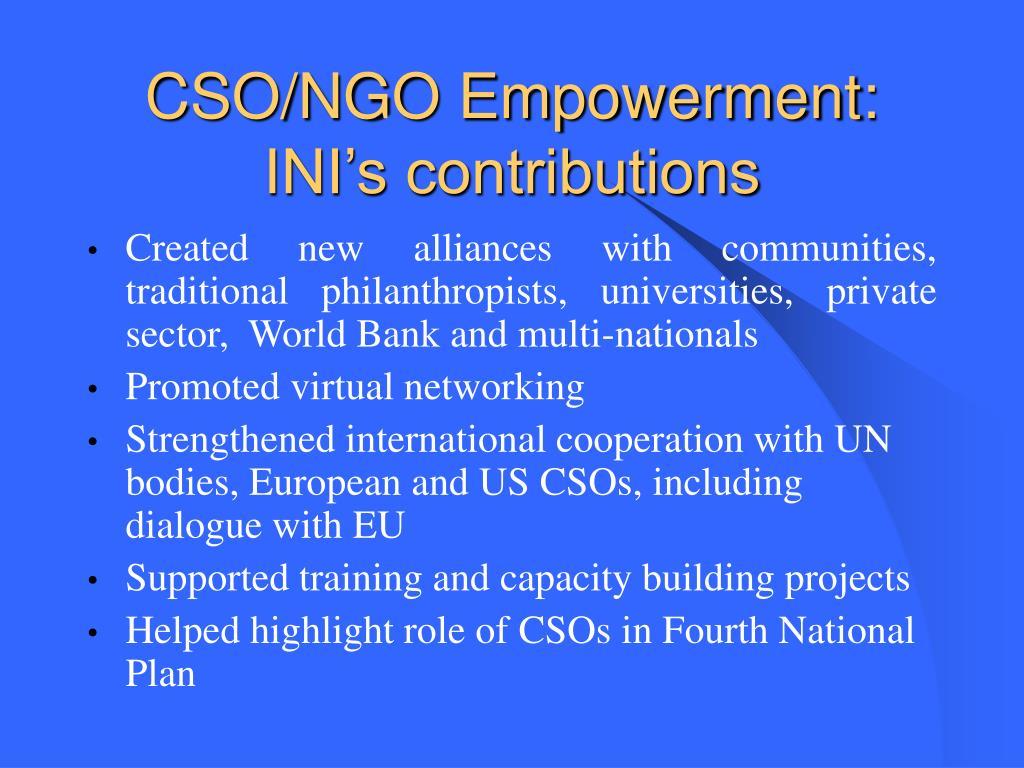 CSO/NGO Empowerment: