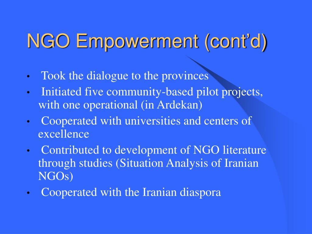 NGO Empowerment (cont'd)