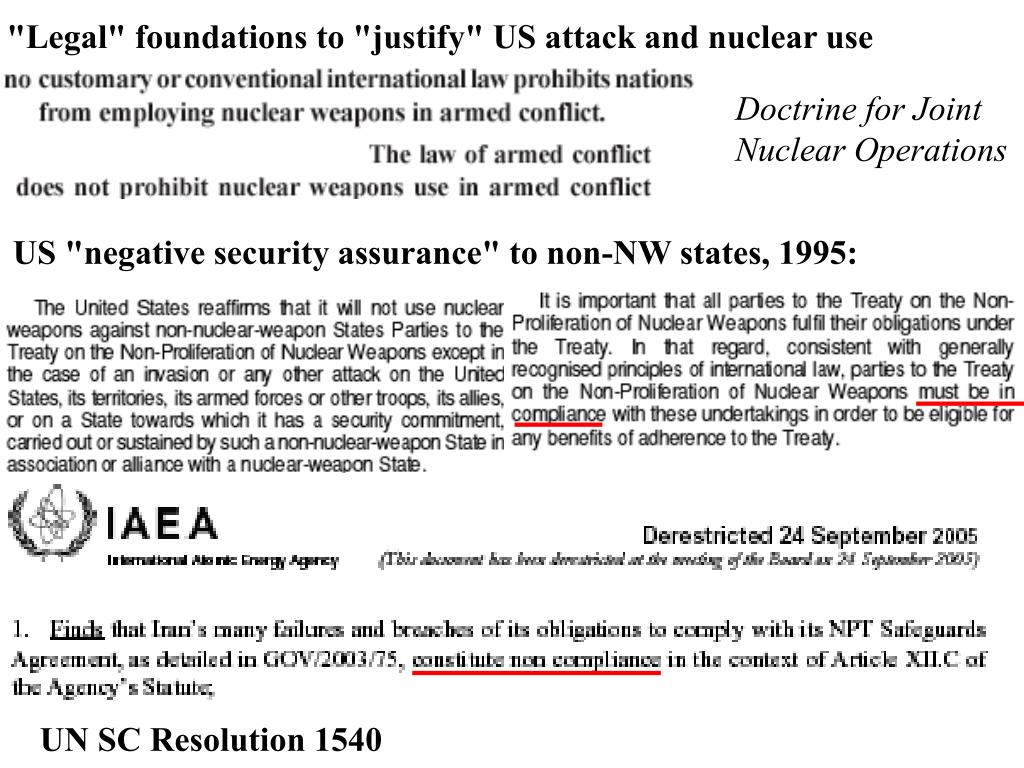 """US """"negative security assurance"""" to non-NW states, 1995:"""