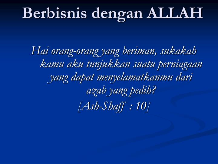 Berbisnis dengan ALLAH