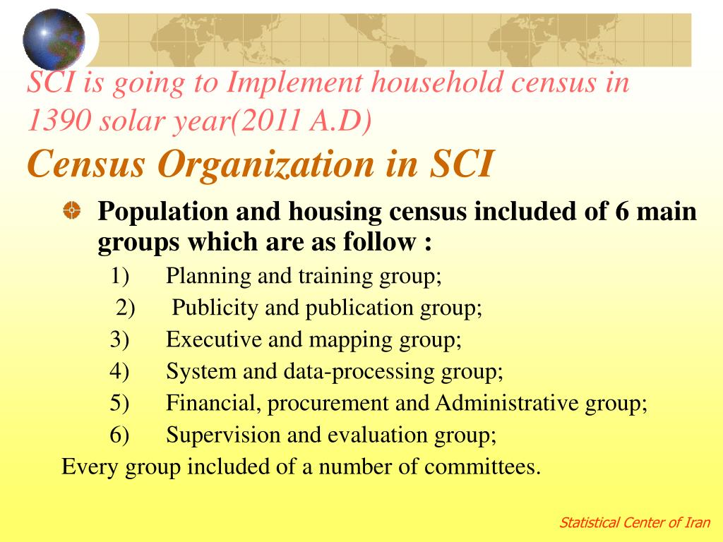 SCI is going to Implement household census in 1390 solar year(2011 A.D)