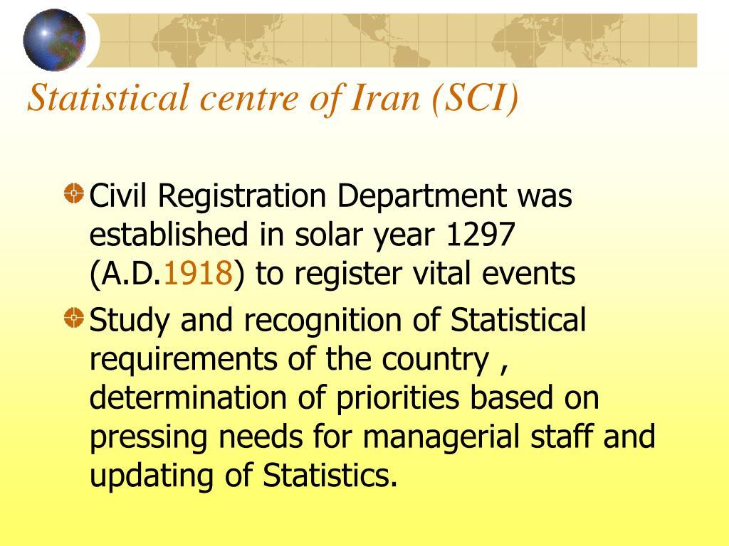 Statistical centre of Iran (SCI)