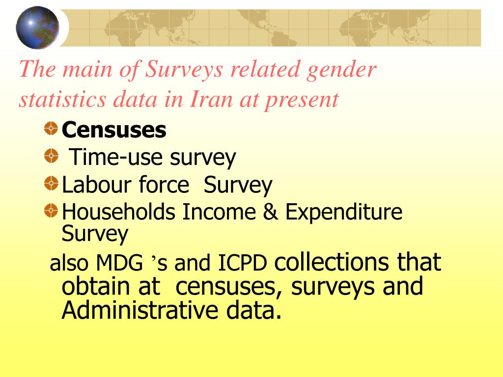 The main of Surveys related gender statistics data in Iran at present