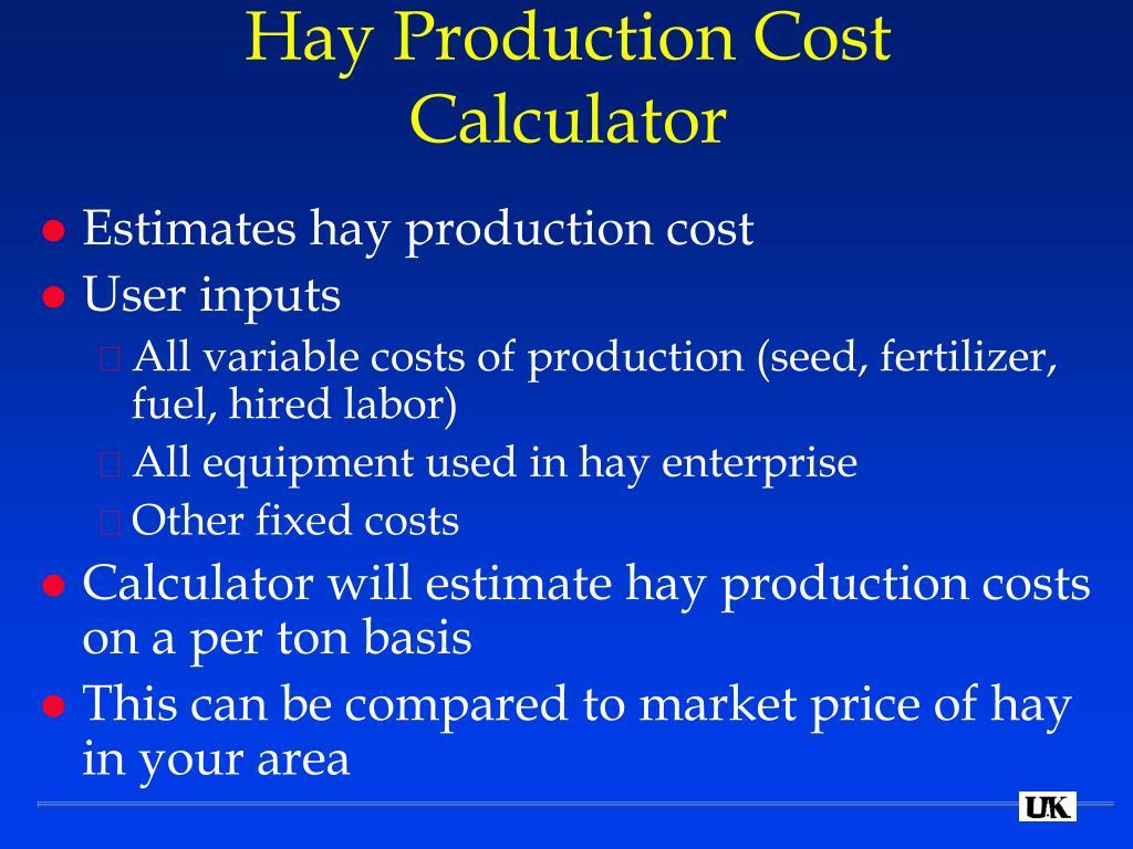 Hay Production Cost Calculator
