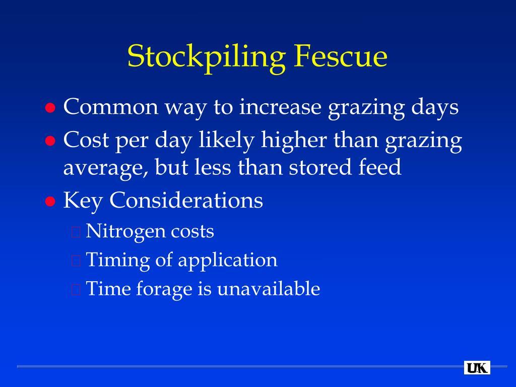 Stockpiling Fescue