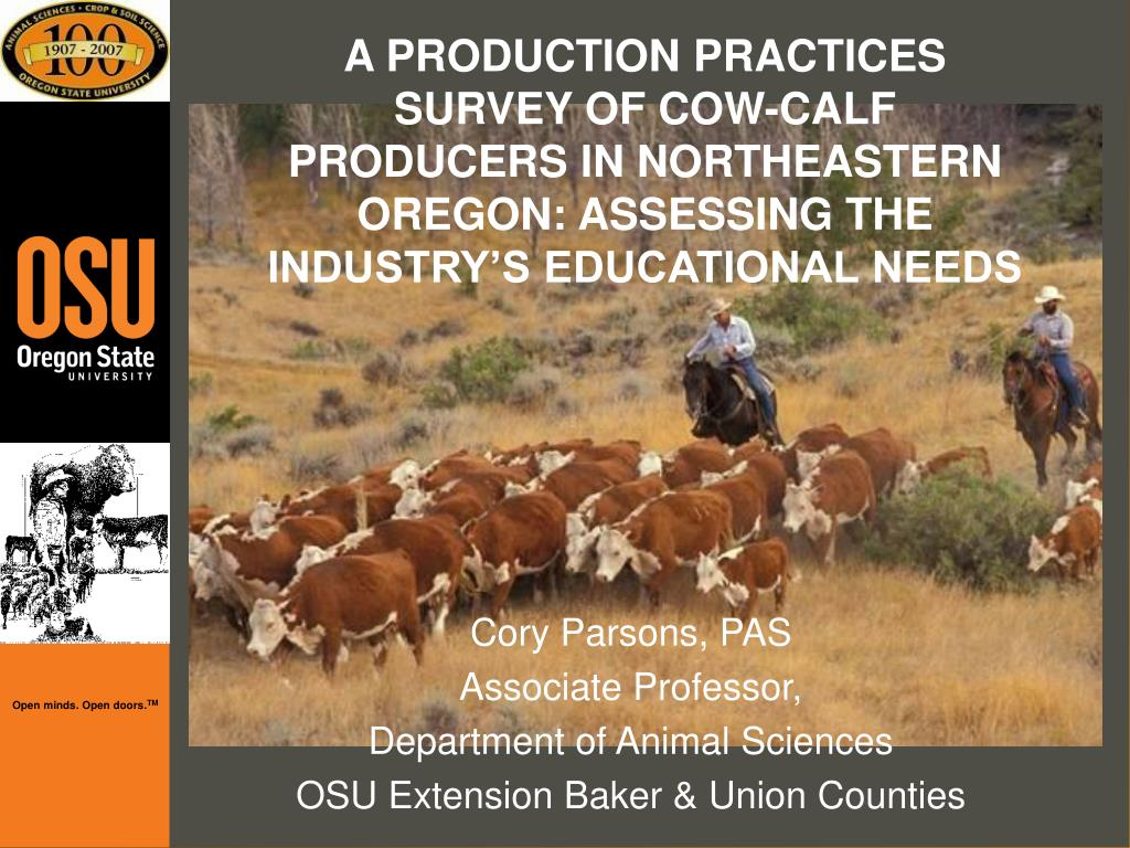 A PRODUCTION PRACTICES SURVEY OF COW-CALF PRODUCERS IN NORTHEASTERN OREGON: ASSESSING THE INDUSTRYS EDUCATIONAL NEEDS
