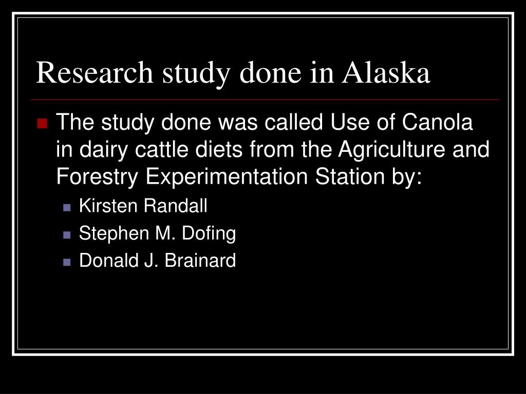 Research study done in Alaska