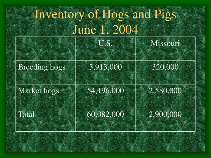 Inventory of hogs and pigs june 1 2004