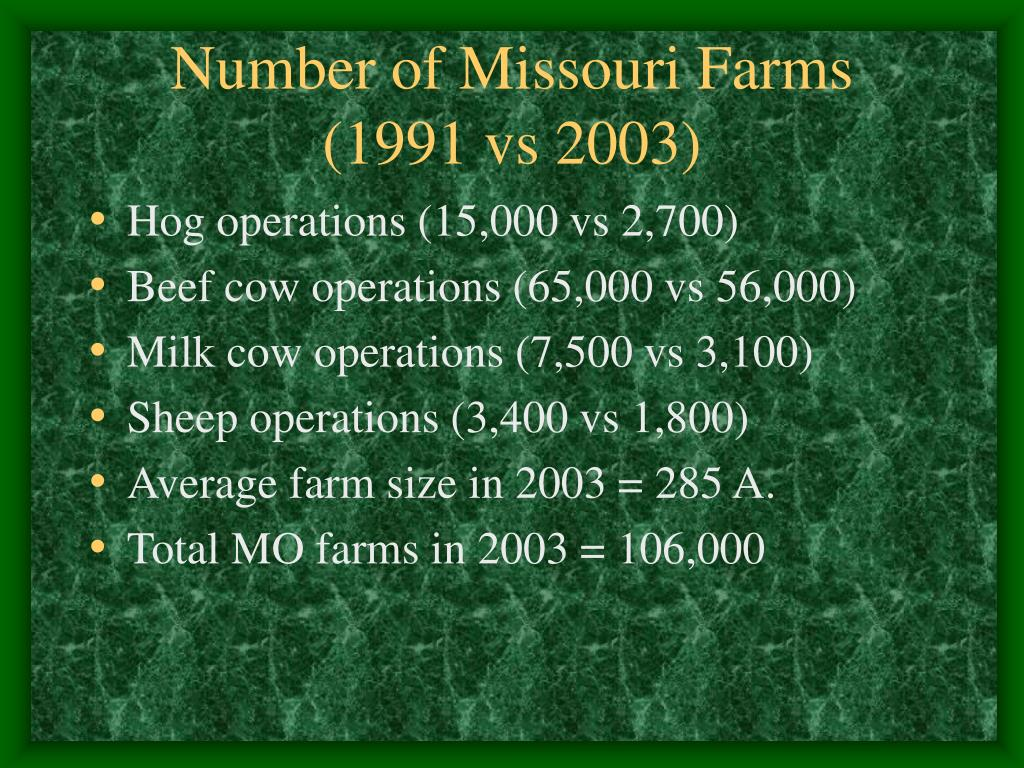 Number of Missouri Farms   (1991 vs 2003)