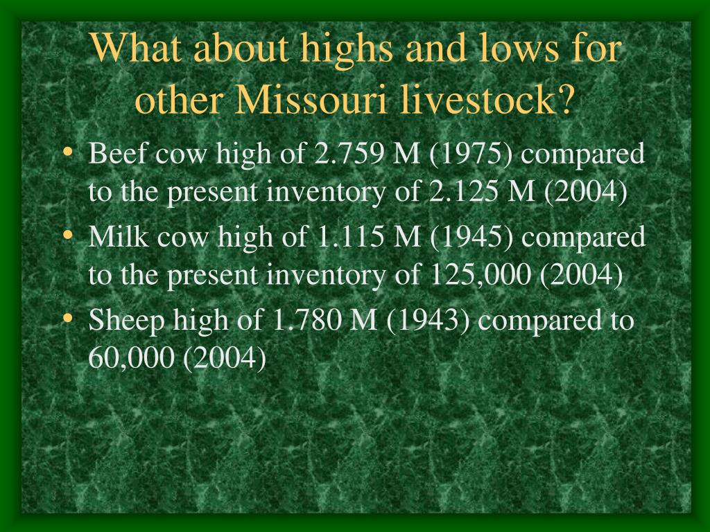 What about highs and lows for other Missouri livestock?