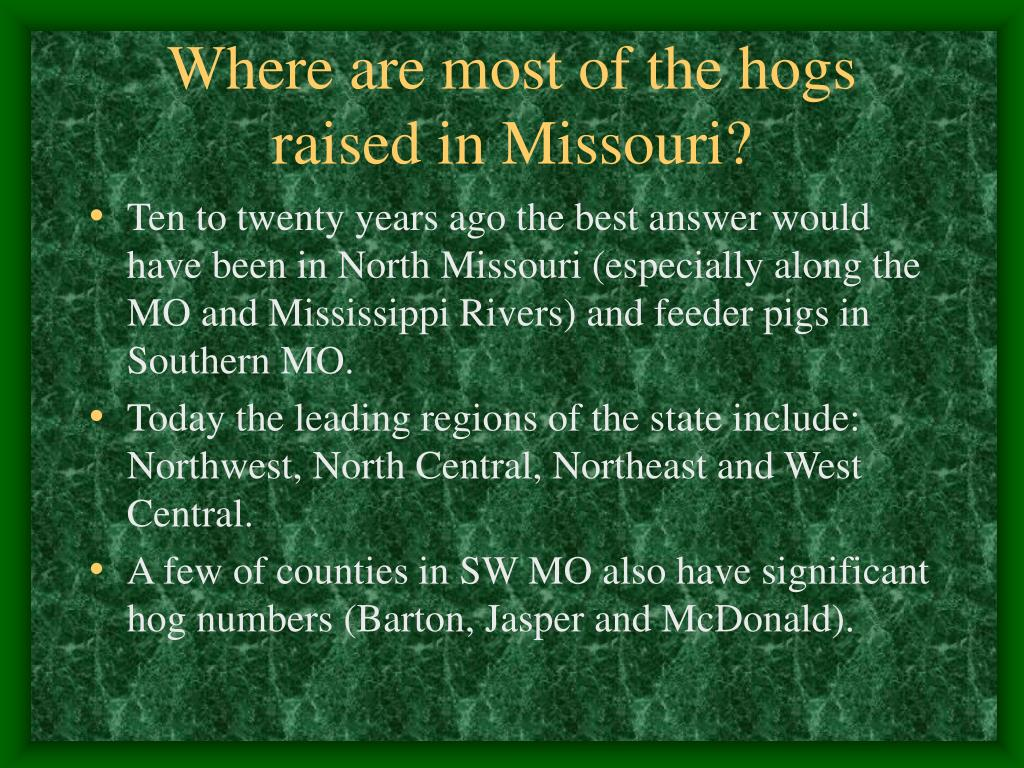 Where are most of the hogs raised in Missouri?