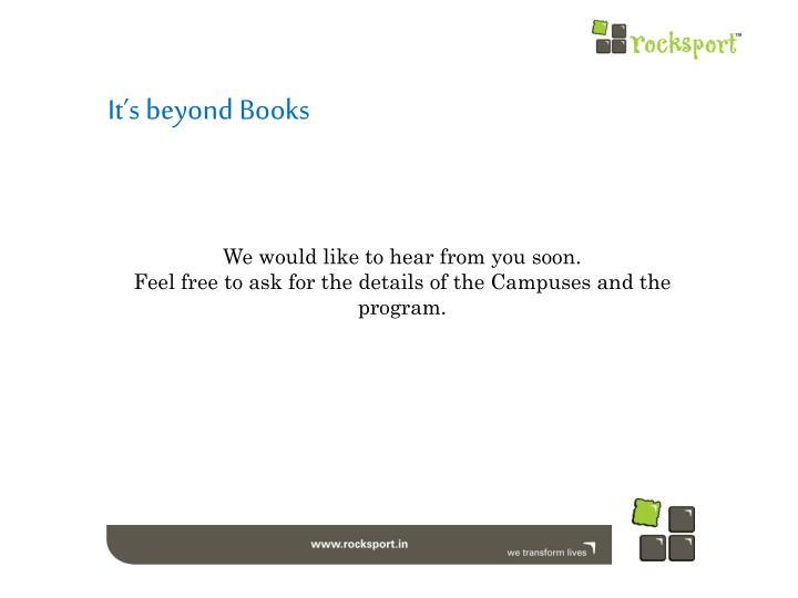 It's beyond Books