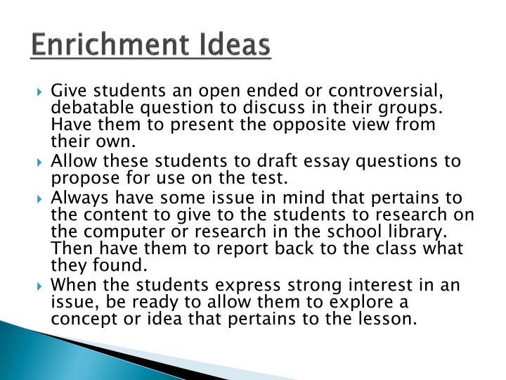 Enrichment Ideas