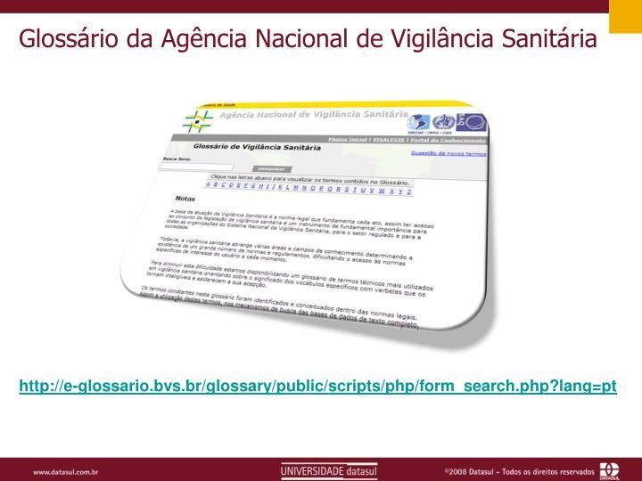 Glossário da Agência Nacional de Vigilância Sanitária