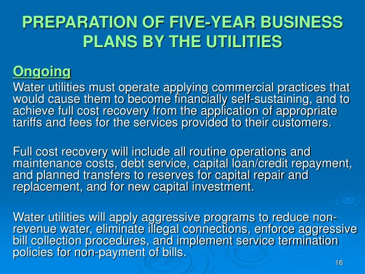 PREPARATION OF FIVE-YEAR BUSINESS PLANS BY THE UTILITIES