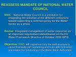 reassess mandate of national water council