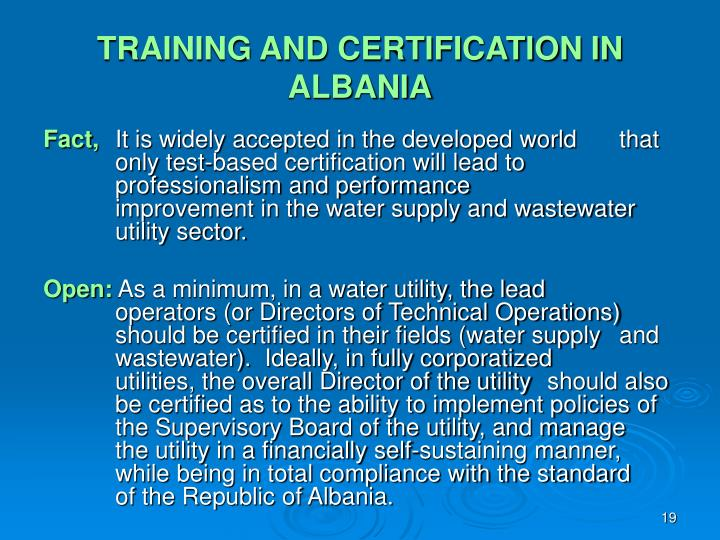 TRAINING AND CERTIFICATION IN