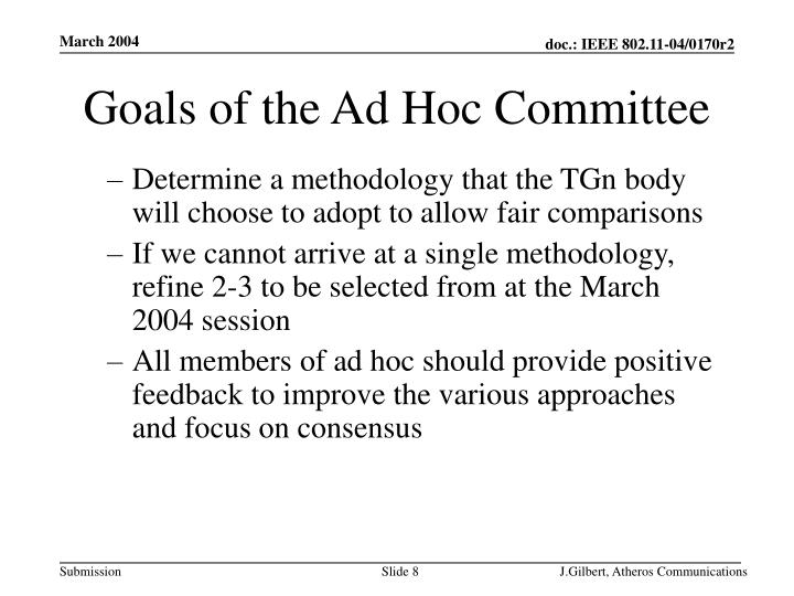 Goals of the Ad Hoc Committee