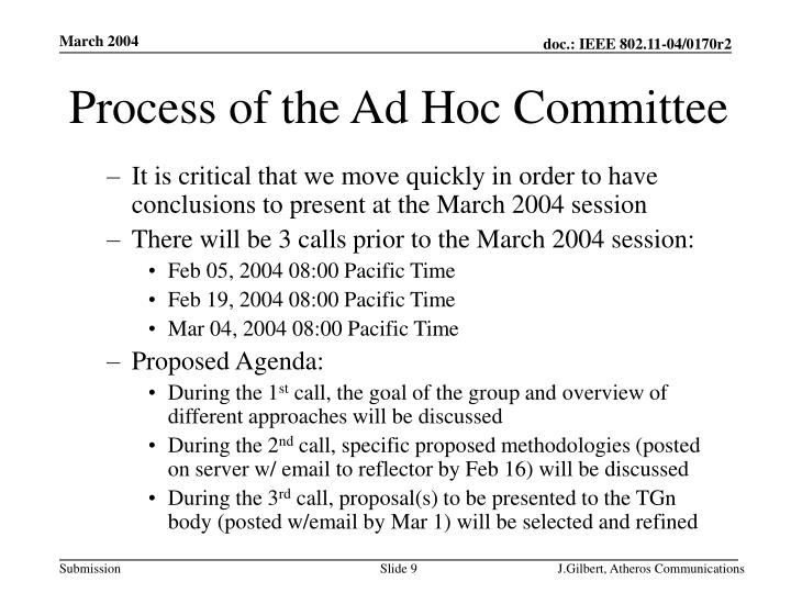 Process of the Ad Hoc Committee