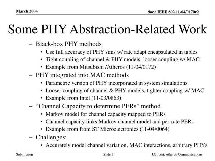 Some PHY Abstraction-Related Work