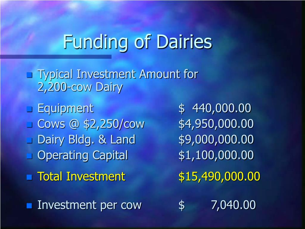 Funding of Dairies