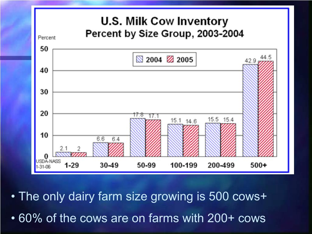 The only dairy farm size growing is 500 cows+
