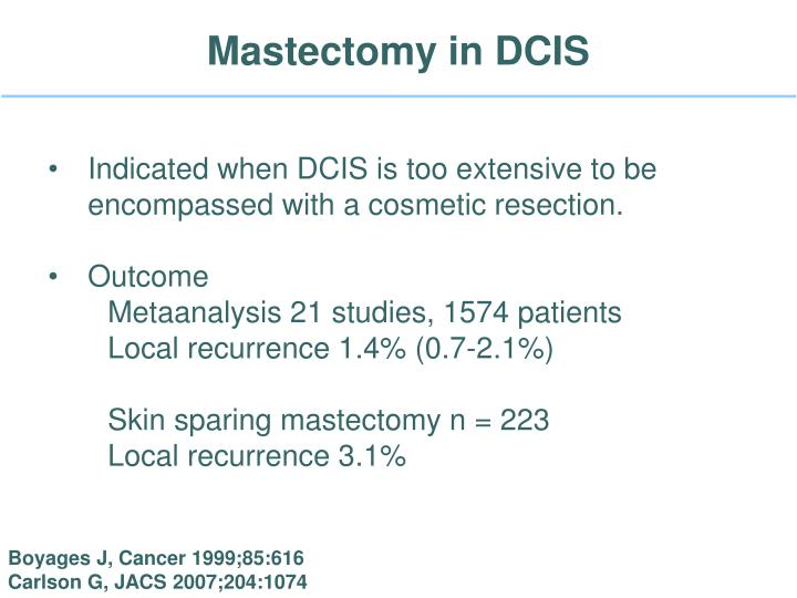 Mastectomy in dcis