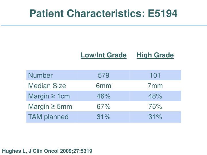 Patient Characteristics: E5194