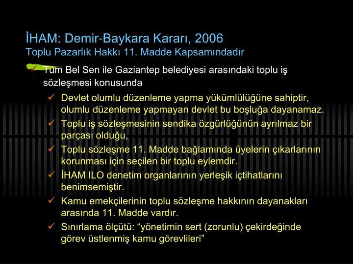 İHAM: Demir-Baykara Kararı, 2006