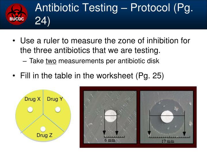 Antibiotic Testing – Protocol (Pg. 24)