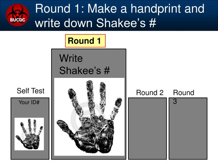 Round 1: Make a handprint and write down Shakee's #