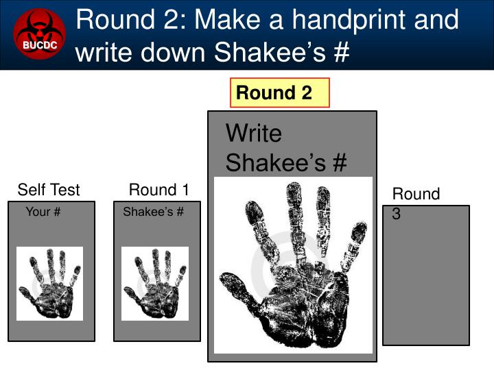 Round 2: Make a handprint and write down Shakee's #