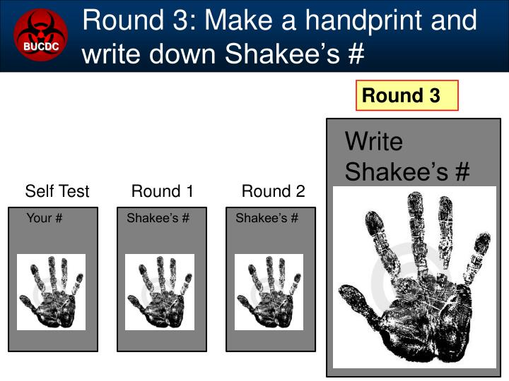 Round 3: Make a handprint and write down Shakee's #