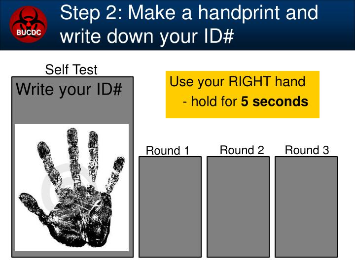 Step 2: Make a handprint and write down your ID#