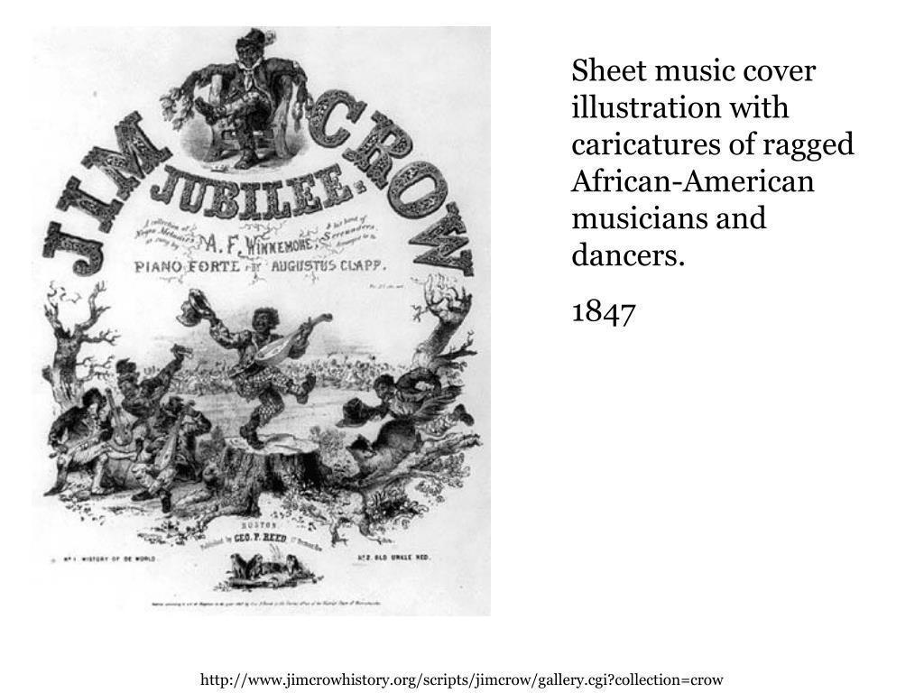 Sheet music cover illustration with caricatures of ragged African-American musicians and dancers.